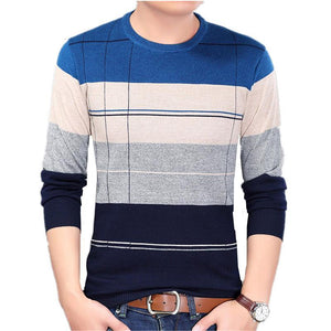 O-neck Slim Fit Knitting Sweaters Stripe Plus