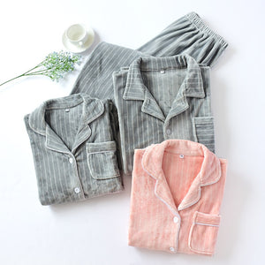 Thicken flannel pajamas sets