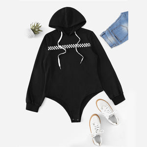 Drawstring Gingham Tape Hooded Bodysuit
