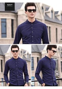 Men Mandarin Collar Long Sleeve shirt