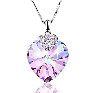 Swarovski Necklace  Heart Shape Amethyst