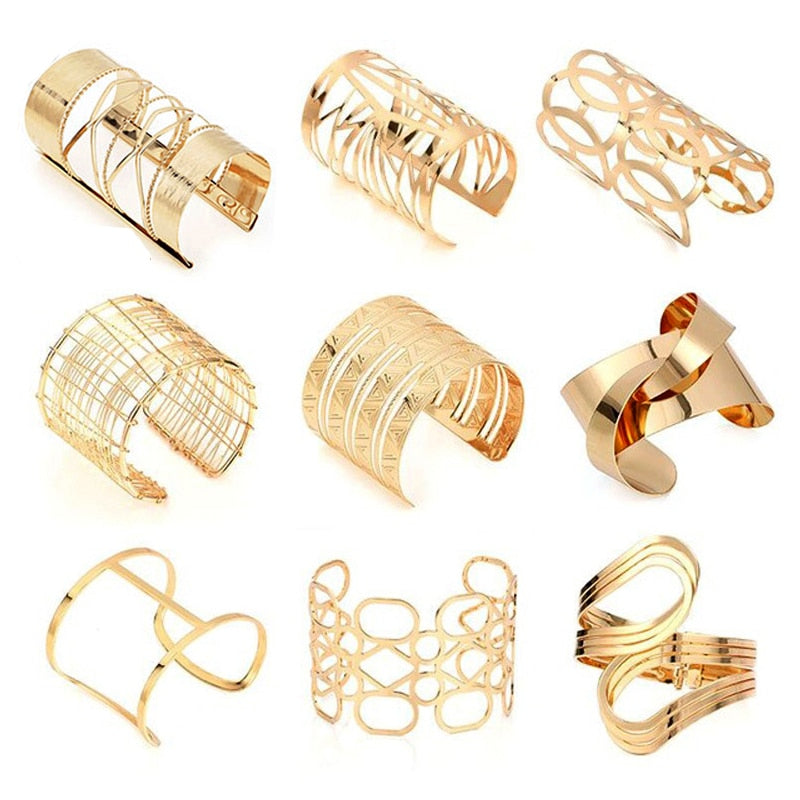 Hollow Wide Cuff Bracelets & Bangles