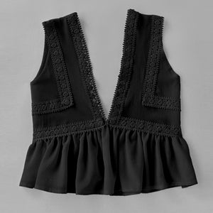 Plunging V-neckline Lace Trim Frill Hem Top