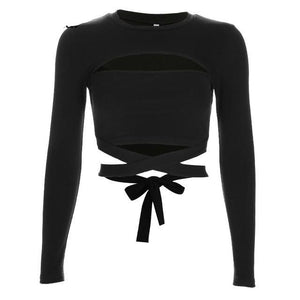 Cut out hole bow tie t-shirts for women