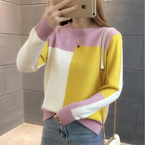Contrast Color Winter Sweater Women