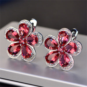 jewelry Flower Luxury Ruby Ear Studs Wedding