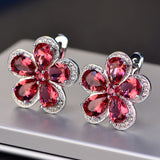 jewelry Flower Luxury Ruby Ear Studs Wedding - Narvay.com