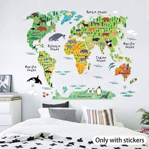 Zooarts Animals World Map Vinyl Mural Wall Sticker