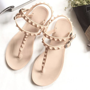 Flat Heel Rivet Sandals Ladies