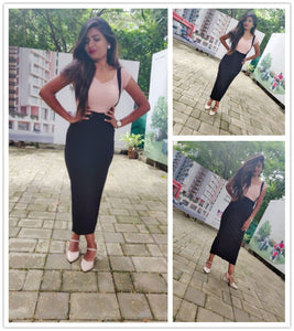High Waist Slit Back Pencil Skirt With Strap