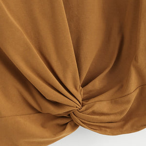 Brown Twist Detail Crop Tshirt Women