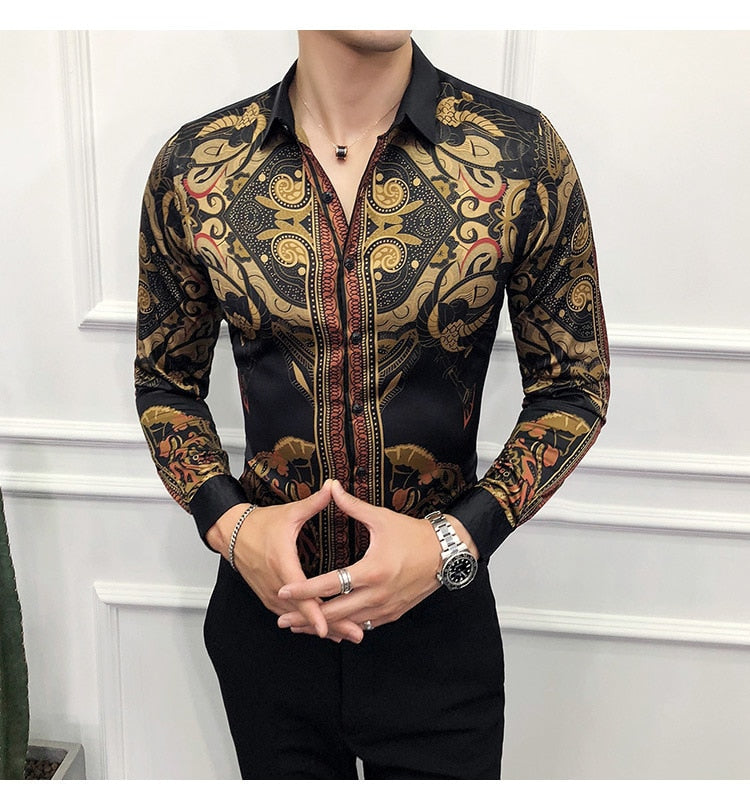 Baroque Slim Fit Party Club Shirt Men