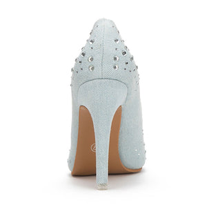 Ladies Rhinestones Denim Toe High Heels