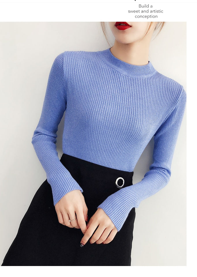 Shiny Autumn Winter Sweater Women