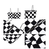 Black White Lattice Jumpsuit Ladies Off Shoulder