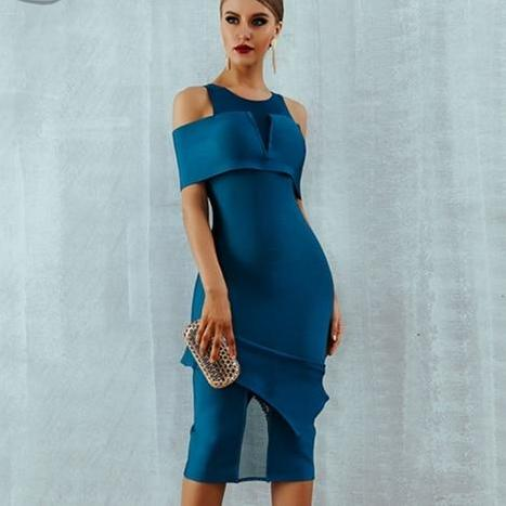 Sexy Off Shoulder Hollow Out Midi Dress