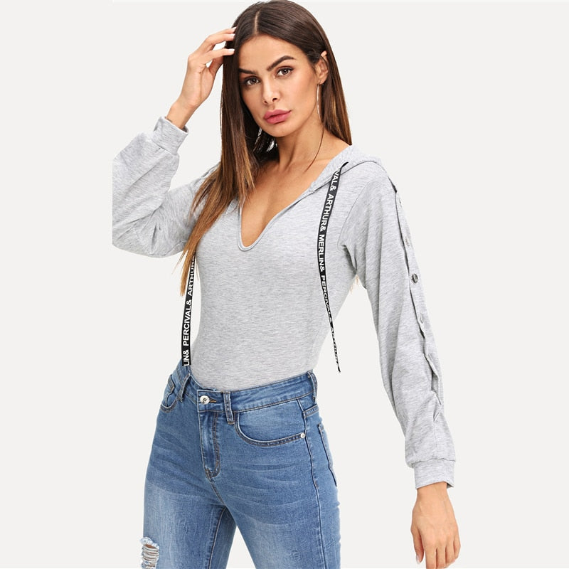 Grey Letter Drawstring Detail Hooded Bodysuit