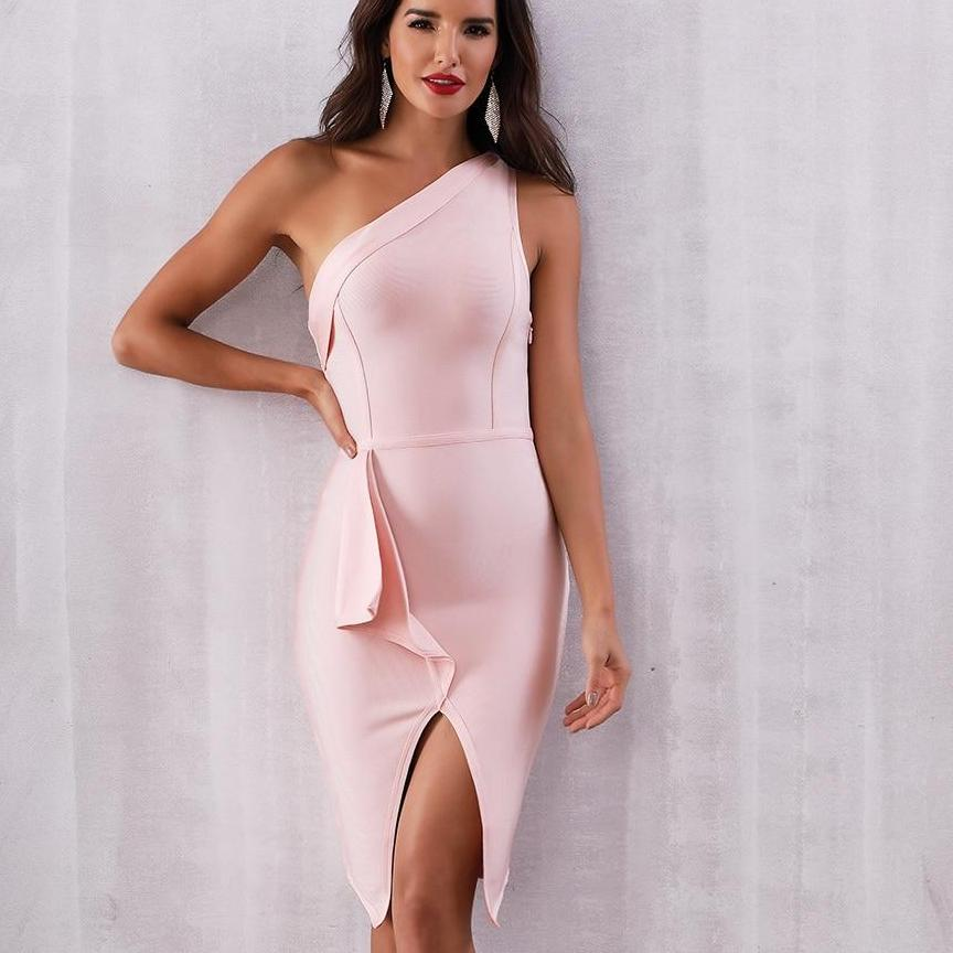 Evening Party Dress Sexy One Shoulder
