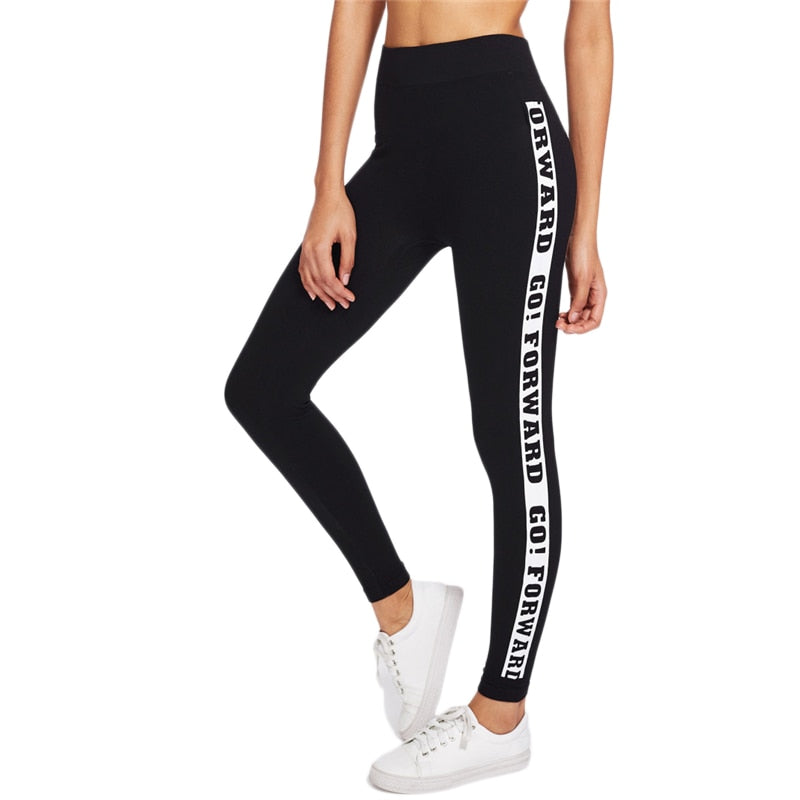 Black Letter Slogan Print Side Skinny Bottoms Leggings