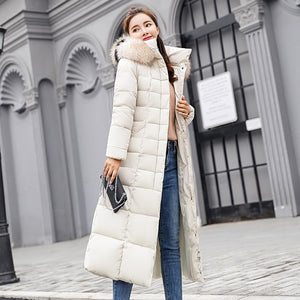 Collar Hooded Down Cotton Female Coat