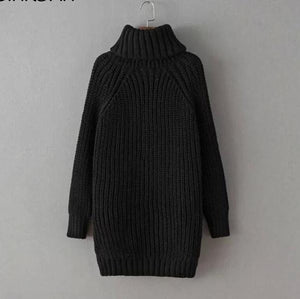 Women Turtleneck Pullover split Hot Sale Female
