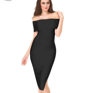 Bandage Off -Shoulder Midi Party Dress