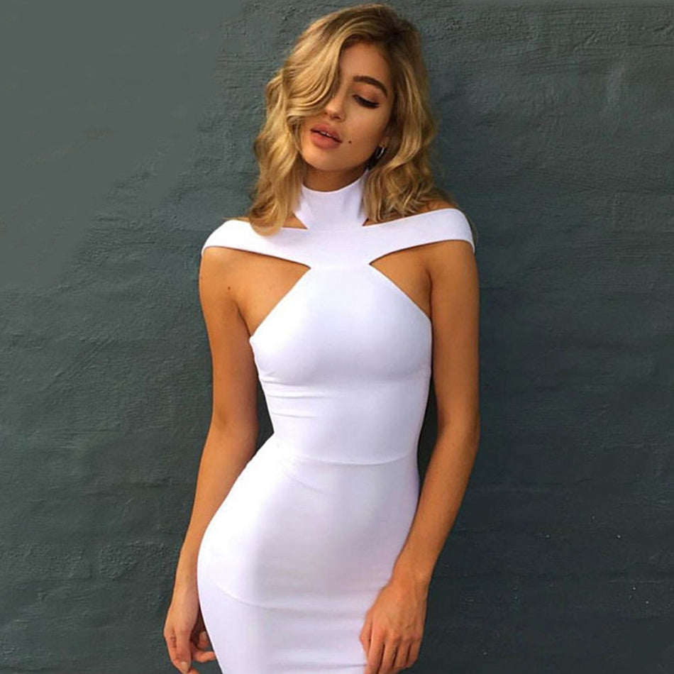 Sexy Off Shoulder Halter Club Dress