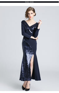 Sequin Patchwork Mermaid Trumpet Dress