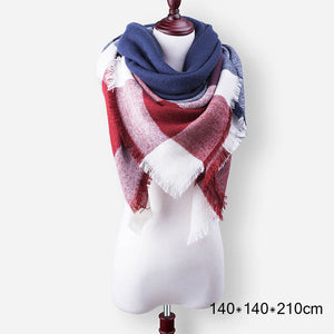 Plaid Cashmere Scarves Women