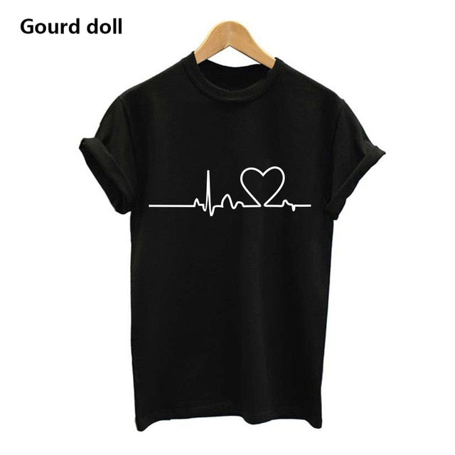 Letter Women Unisex O Neck T Shirts
