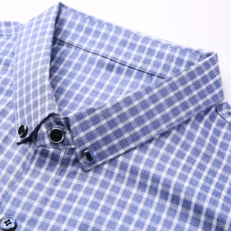 Man Plaid Korean Slim Fit Shirt