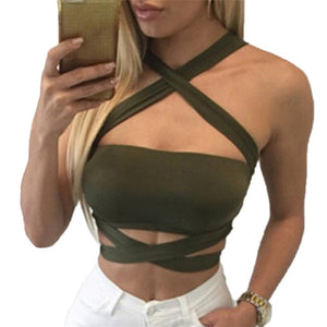 Sexy Criss Cross Halter Bandage Crop Top