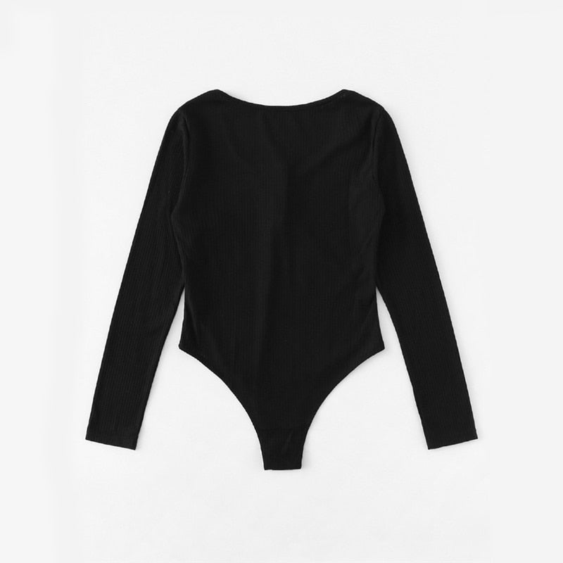 Ribbed Solid Skinny Bodysuit