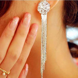 Temperament Crystal Tassel Earrings Bridal