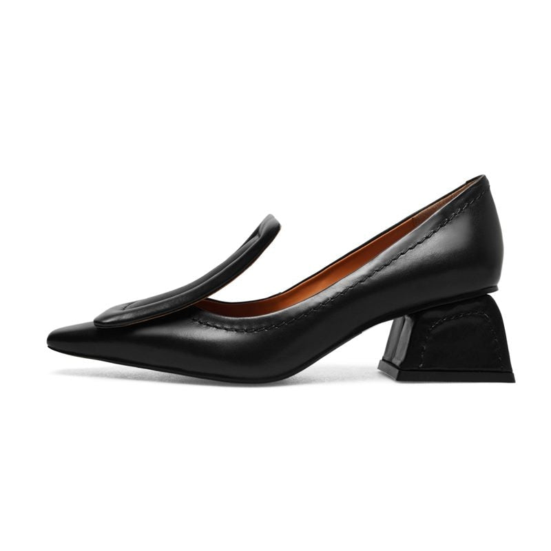Leather Pointed Toe High Heels - Narvay.com