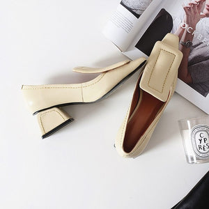 Leather Pointed Toe High Heels