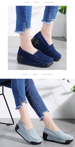 Women Flat Platform Sneakers Leather