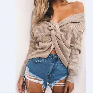 V-Neck Knotted Halter Long Sleeve Sweater