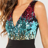 Bodice Color Block Wrap Elegant Sequin Jumpsuit