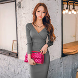 Winter Women Knitted Cotton Skinny Sweater Dress