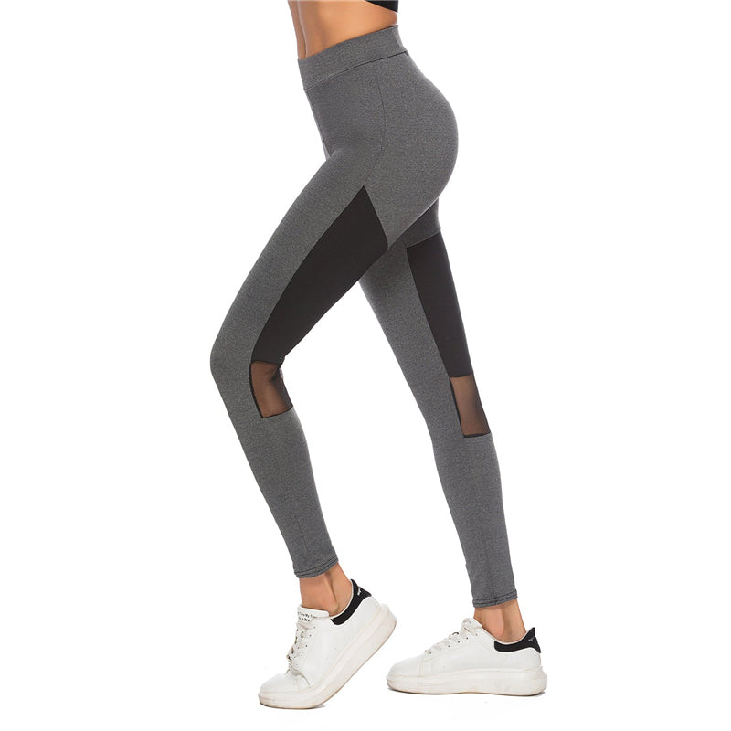 Grey Sheer Mesh Panel Legging