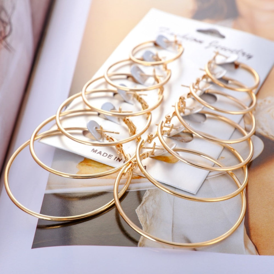 Gold Silver Small Big Circle Hoop Earrings for Women