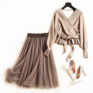 Tutu skirts suits long skirt 2 piece set Sweaters