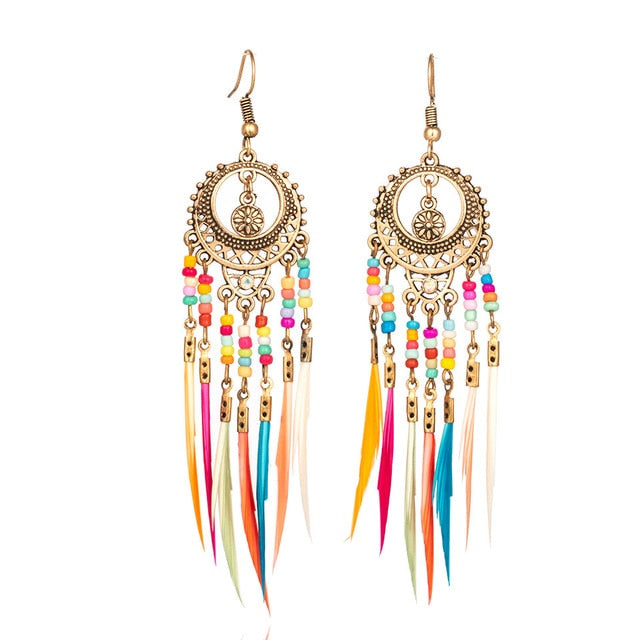 Silver Ethnic Rainbow Colors Earrings for Women - Narvay.com