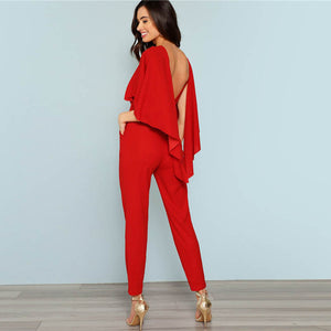 Backless Open Shoulder Solid Cape Jumpsuit - Narvay.com