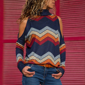 Striped Bare Shoulder Blouse Autumn Winter Elegant