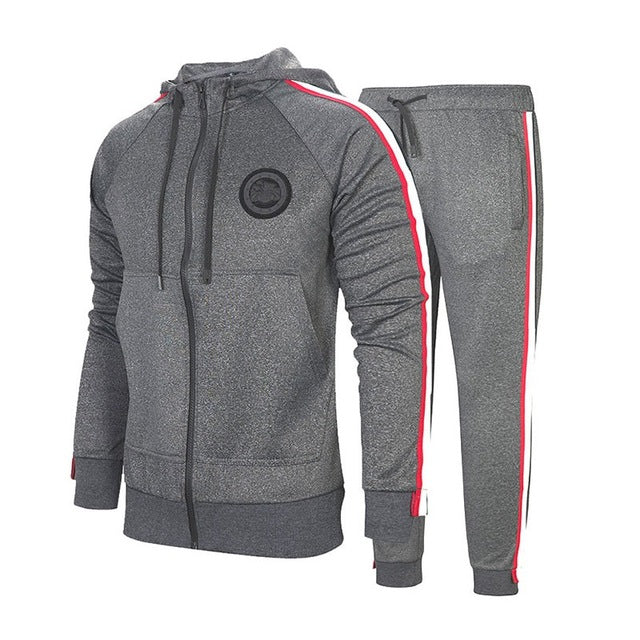 Winter Striped Tracksuit Men