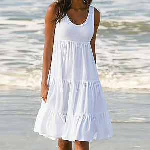 Holiday Summer Solid Sleeveless Party Beach
