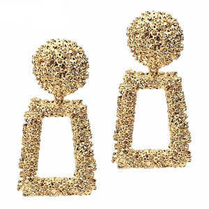 Women Rough Metal Drop Earring