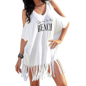 Women's Tassel Letters Print Baggy Beach Dress